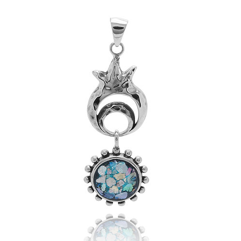 NP12410-RG - Elegant PomegranateDesign Pendant with Dangling Roman Glass Part