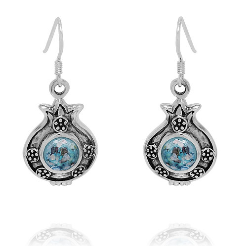 NEA3786-RG - Adorable Pomegranate Earrings with Roman Glass
