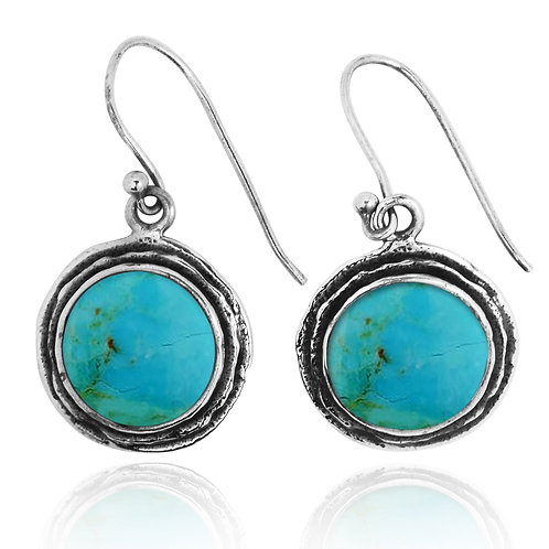 NEA1968-GRTQ - Classic Round Earrings with Turquoise Stones