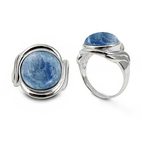 [NRB6617-KYA] Sterling Silver Ring with Round Kyanite