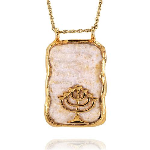 NP11624-JRSL-GP - 18K Gold Plated Jerusalem Stone Pendant, Menorah Design