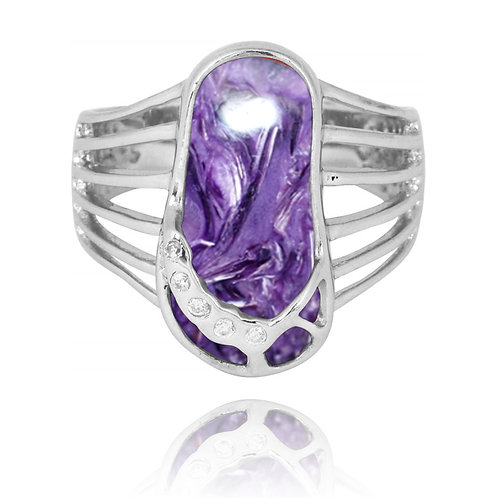 [NRB7784-CHR] Charoite Sandal Sterling Silver Ring with White CZ
