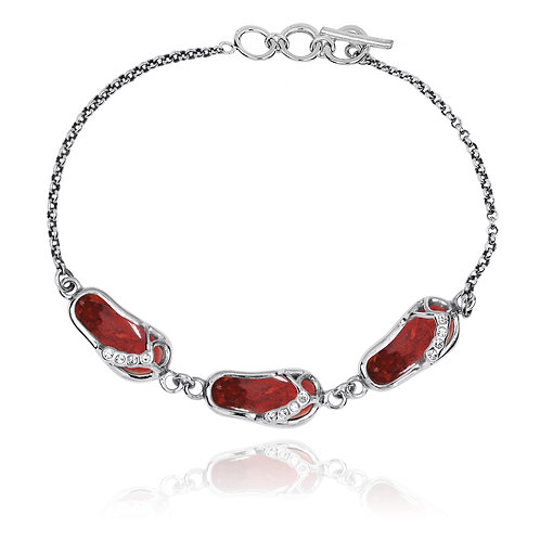 [NB1454-SPC-WHCZ]  Silver Sandals Bracelet with Sponge Coral and CZ