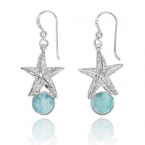 NEA3244-LAR - Elegant Larimar Starfish dangling Earrings