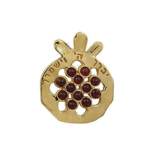 NP11909-GAR-GP - Gold P Elegant Pomegranate Pendant with Garnet Pieces and Verse