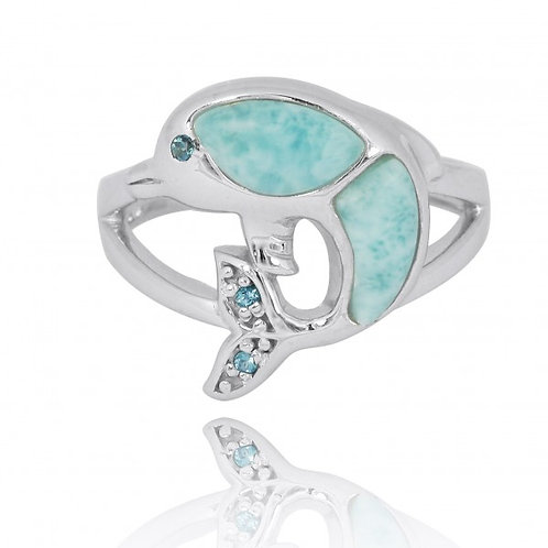 [NRB7222-LAR-LBLT-SWBLT] Sterling Silver Dolphin Ring with Larimar, London Blue