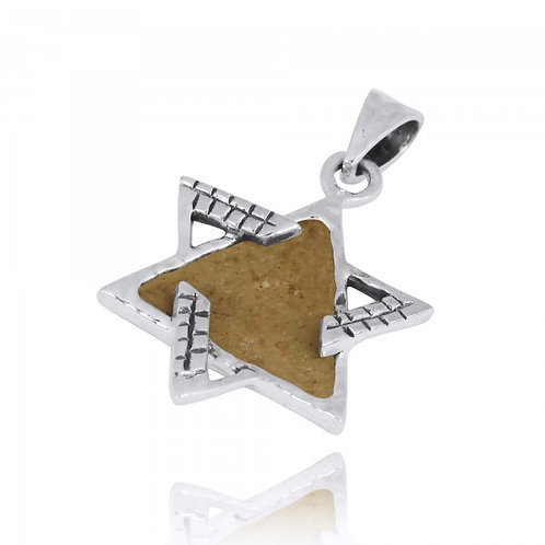 [NP11628-JRSL] Sterling Silver Star of David Pendant with Jerusalem Stone