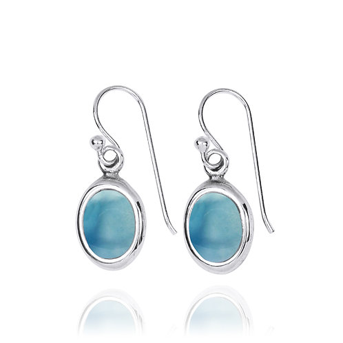 NEA3746-LAR-Oval Elegant Earrings with Larimar Stones
