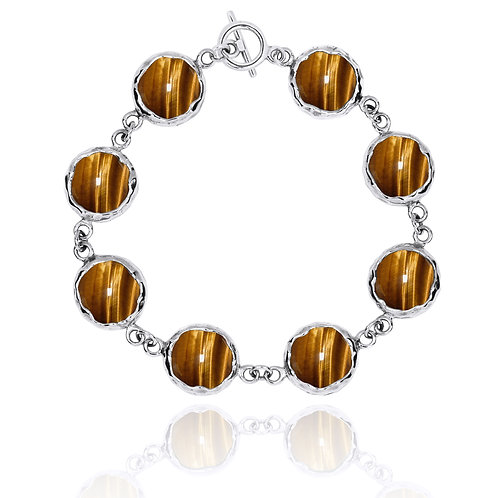 [NB1174-BRTE] Sterling Silver Chain Bracelet with 8 Round Brown Tiger Eye Stones