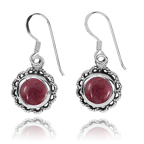 NEA3749-RDN - Flowery Earrings with Rhodonite Earrings