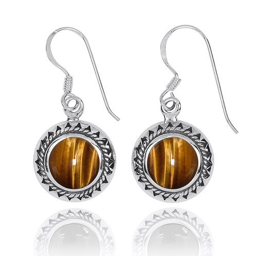 NEA3767-BRTE - Elegant Retro Round Earring with Tiger Eye Stones