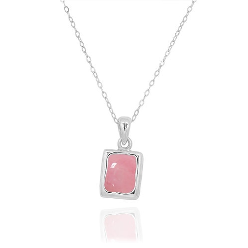 NP12332-PPKOP - Classic Silver Pendant with a Rectangle Peru Pink Opal Piece