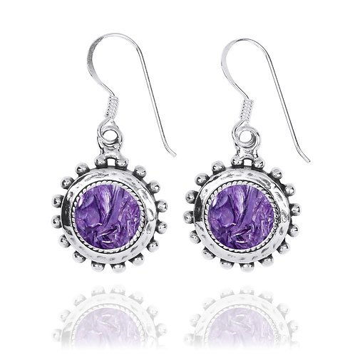 NEA3756-CHR -Round Spiked Earrings with Charoite Stones