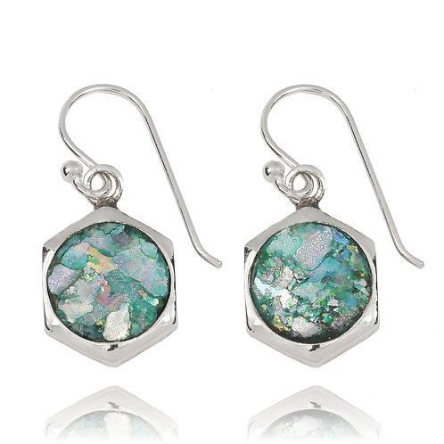 NEA3715-RG- Classic Hexagon Earrings with Roman Glass