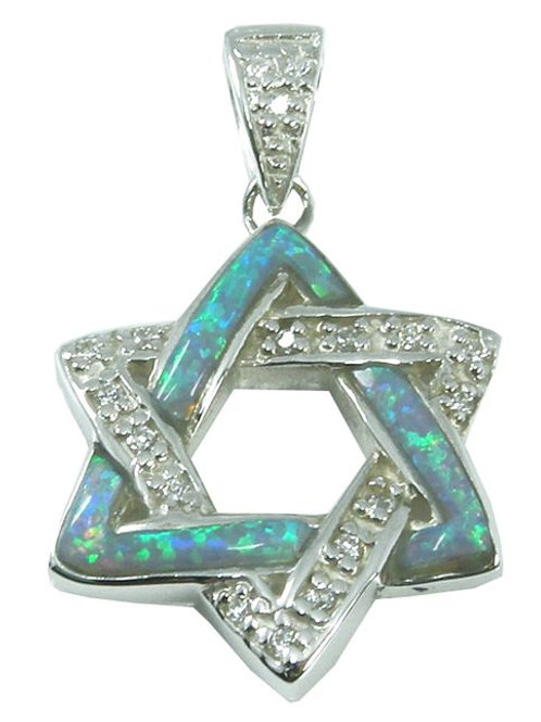 NP0832-OP - Classic Star Of David Pendant with S Blue Opal