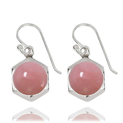 NEA3715-PPKOP - Classic Hexagon Earrings with Pink Opal stones