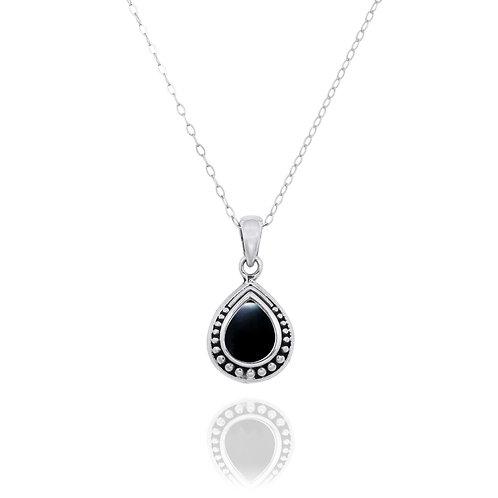 NP12366-BKON -  Drop Shape  Silver Pendant with a  Black Onyx Piece