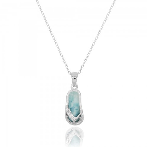 [NP10919-LAR-CRS] Sterling Silver Sandals with Larimar and Crystal Pendant