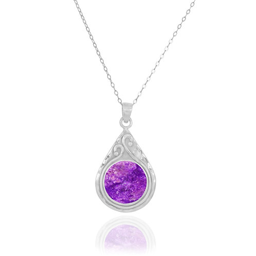 NP11604-SUG - Elegant Pear shape Silver Pendant with Round Sugilite Piece
