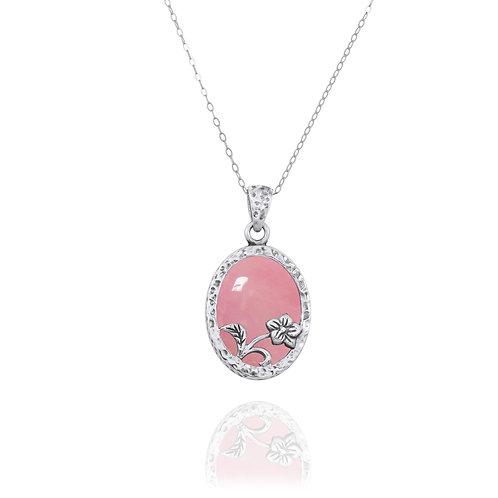 NP8166-PPKOP - Elegant Oval Flower Design Silver Pendant with Peru Pink Opal