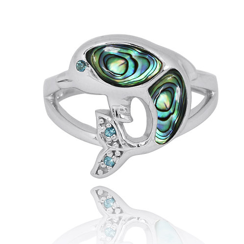 [NRB7222-ABL] Sterling Silver Dolphin Ring with Abalone