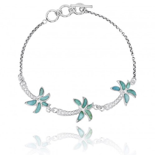 [NB1463-LAR-WHCZ] Sterling Silver Palm Trees with Larimar and White CZ Chain Bra