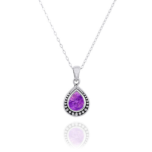 NP12366-SUG  -  Drop Shape  Silver Pendant with a  Sugilite Piece