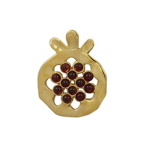 NP11906-GAR-GP - Gold Plated Elegant Pomegranate  shape Silver Pendant with Garn