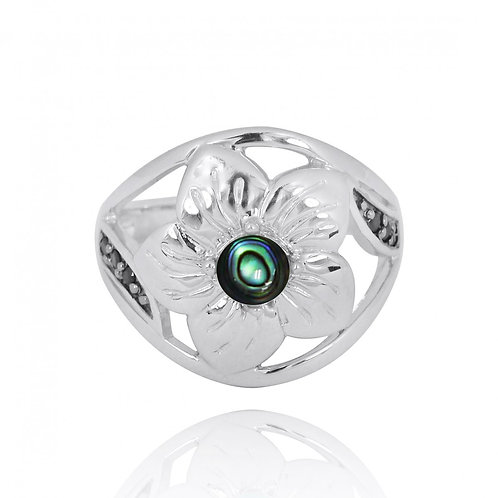 [NRB8364-ABL] Sterling Silver Hibiscus Ring with Round Abalone and Bl