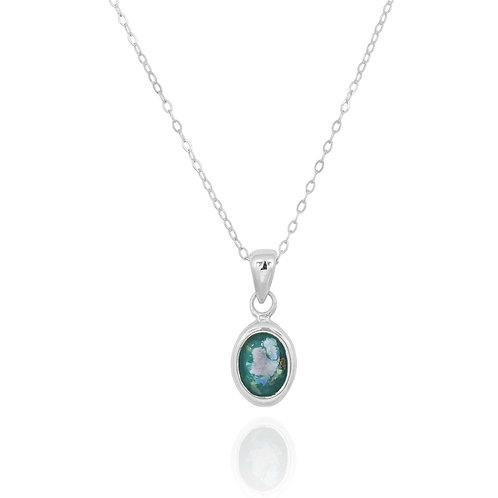 NP12337-RG - Classic Oval Silver Pendant with a Roman Glass Piece