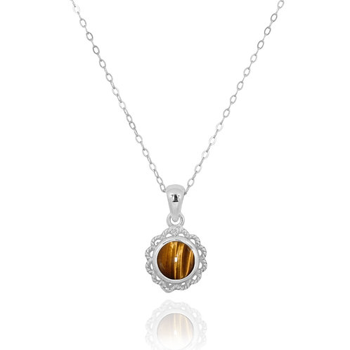 NP12340-BRTE - Classic Round Flowery  Silver Pendant with a Tiger Eye Piece