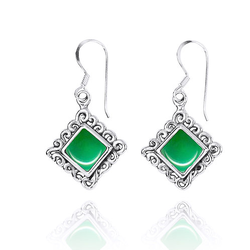 NEA3758-CRP - Elegant Ethnic Style Earrings with Chrysoprase