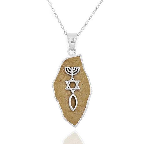 NP11636-JRSL - Classic Messianic Jerusalem Stone Pendant