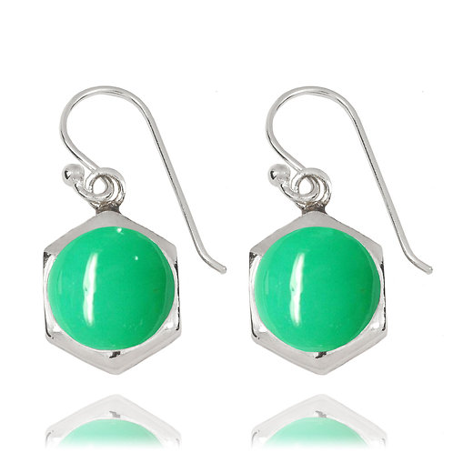 NEA3715-CRP- Classic Hexagon Earrings with Chrysoprase
