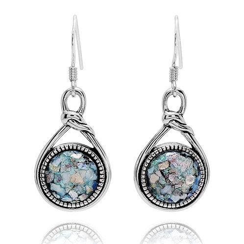 NEA3649-RG - UniqueRoman Glass contemporary design Earrings