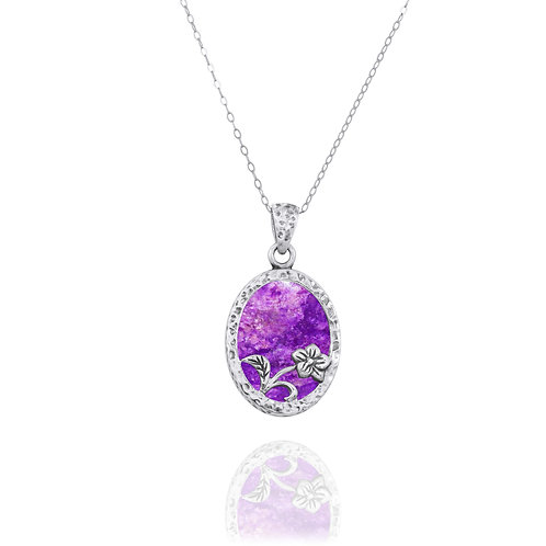 NP8166-SUG - Elegant Oval Flower Design Silver Pendant with Sugilite
