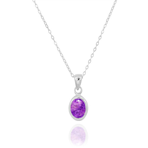 NP12337-SUG - Classic Oval Silver Pendant with a Sugilite Piece