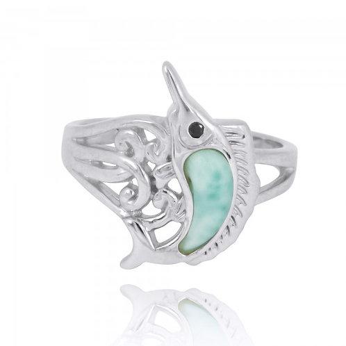 [NRB8361-LAR-BKSP] Sterling Silver Swordfish Ring with Larimar and Black Spinel