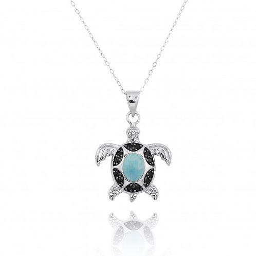 [NP11317-LAR-BKSP] Sterling Silver Turtle Pendant with Larimar and Black Spin