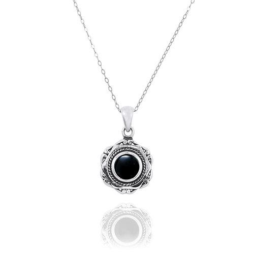NP12359-BKON - Elegant Modern Silver Pendant with a Round Black Onyx  Piece