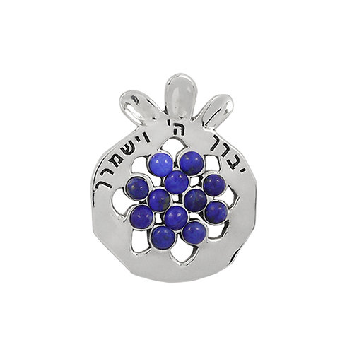 NP11909-LAP -  Elegant Pomegranate Pendant with Lapis Lazuli Pieces and Verse