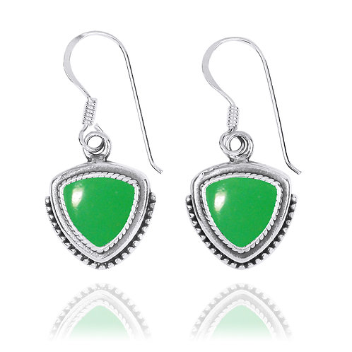 NEA3772-CRP -Classic Pointy Triangle Earring with Chrysoprase  Stones
