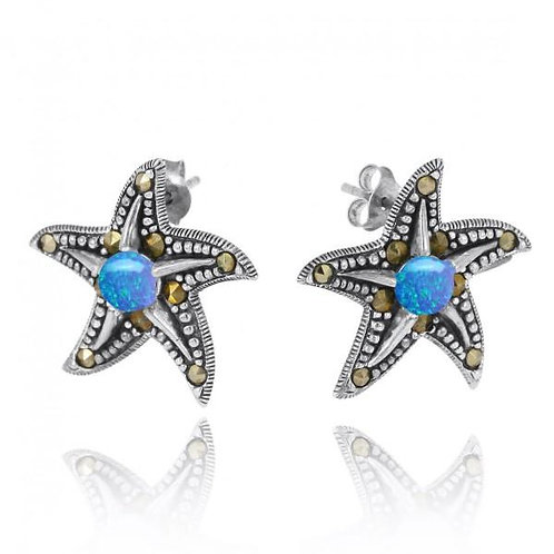 [NES3011-BLOP-MRC] STARFISH STUD EARRINGS WITH BLUE OPAL AND MARCASITE
