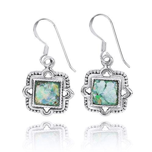 NEA3765-RG - Elegant Retro Square Earring withRoman Glass Pieces