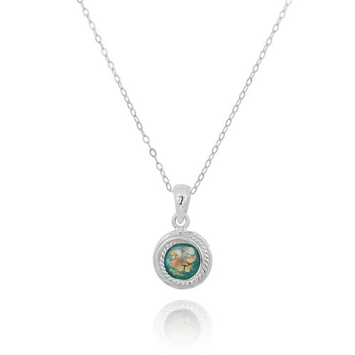 NP12344-RG - Adorable classic Round small Roman glass Pendant