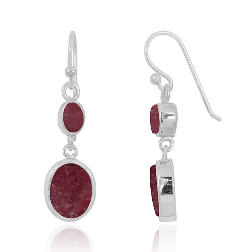 NEA3718-RDN - Elegant Dangling 2 part Earrings with Rhodonite