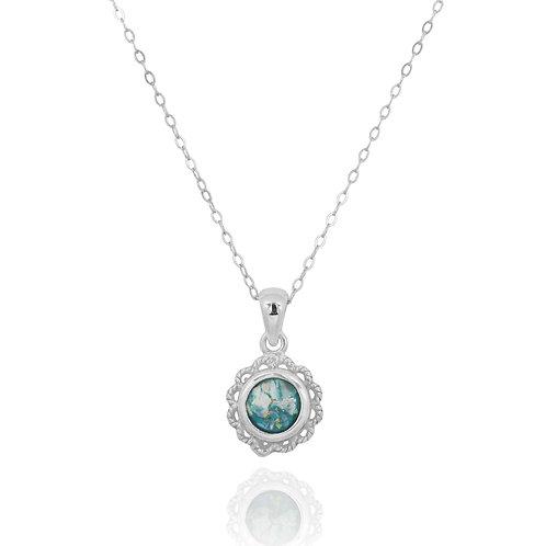 NP12340-RG - Elegant Round Classic Roman Glass Pendant