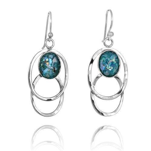 [NEA1852-RG] Double Silver Oval Hoop Drop Earrings with Roman Glass