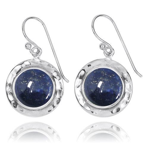 NEA3726-LAP - Round Classic Earrings with Lapis Lazuli Stones