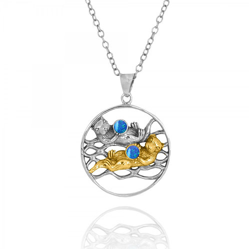 NP12810-BLOP-GP -Elegant Round Sea Otters Pendant with Synthetic Blue Opal
